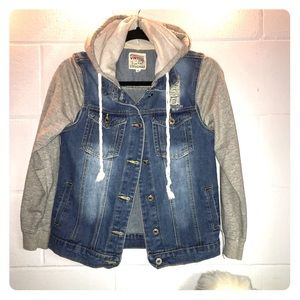 Vintage faded and distressed jean jacket with hood